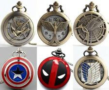 48mm Vintage Antique Bronze Steampunk Quartz Pocket Watch Necklace Pendant Gifts