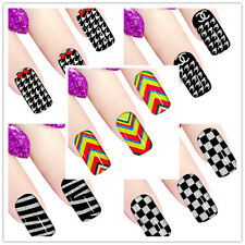 12 Pcs Hot Nail Art Sticker Decals Glitter Tips French Manicure Decal