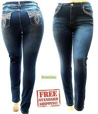 D&B PLUS SIZE WOMEN'S Stretch premium BLUE denim jeans CAPRI HIGH WAIST 39272MC