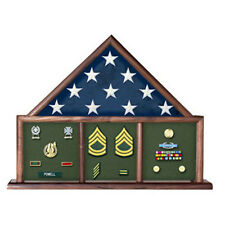 Flag And Memorabilia, Flag Shadow Box, Combination Flag Medal Made By Veterans