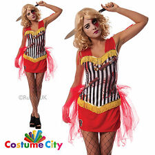 Womens Ladies Knife Throwers Assistant Halloween Circus Hell Fancy Dress Costume