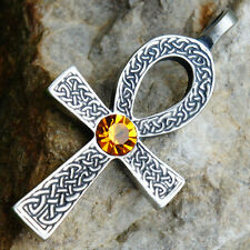 Celtic Ankh Cross of life Acrylic Crystal Yellow Citrine November pewter pendant