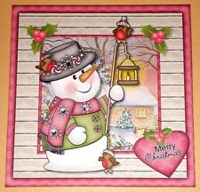 Handmade Greeting Card 3D Christmas With A Snowman