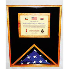 Large Military Memorial Flag, Medal Display Case Hand Made By Veterans