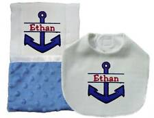 Handmade Blue Embroidered Personalized Baby Boy Nautical Bib and Burp Cloth Sets