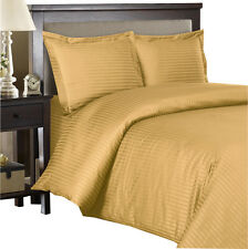Gold 100% Cotton & 600 Thread count Sateen Striped Duvet Cover Set