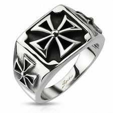 Solid Men's Biker Band Ring Stainless Steel Triple Iron Cross Iron Cross
