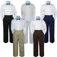 3pc Boy Suit Set Turquoise Green Bow Tie Baby Toddler Kid Formal Shirt Pants S-7