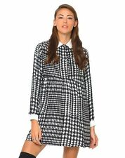 MOTEL ROCKS Kye Babydoll Dress in Hounds Tooth Black and White (mr81)