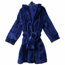 John Lewis Boys Navy Blue Dressing Gown Warm Soft & Thick Hooded Kids Robe Hood