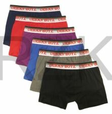6 Pairs Men's Urban Boxer Shorts, Plain Designer Cotton Rich Underwear Trunks