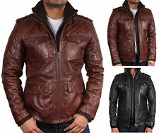 Mens Jacket Leather Biker Casual Bomber jacket Coat Diamond Quilt BNWT Latest