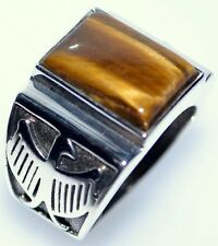 Tigers Eye Gem Sterling SILVER Mens Ring Gents 925 NEW Sizes L to Z+5; 50.5 15
