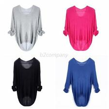 Womens Crewneck Long Sleeve Sweater Pullover Jumper Casual Loose Knit Top Blouse