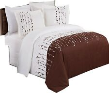 Ivory & Chocolate 3-PIECE 100% Microfiber Embroidered Ellis Duvet Cover Set