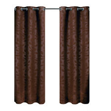Virginia Chocolate Grommet Top Panels, Set of two Blackout Weave Window Curtains