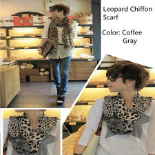 Hot Fashion Women's Long Soft Wrap Shawl Silk Leopard Chiffon Scarf Shawl Plush