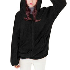Women Bear Ear Design Hood Long Sleeves Zip Up Front Elastic Hem Plush Coat