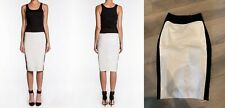 Robert Rodriguez Fitted Moto Dress IVORY Black color Block Sleeveless Pencil NEW