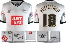 *15 / 16 - UMBRO ; DERBY COUNTY HOME SHIRT SS + PATCHES / BUTTERFIELD 18 = SIZE*
