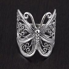 Womens 925 Sterling Silver Vintage Style Filigree Butterfly Ring 23mm length