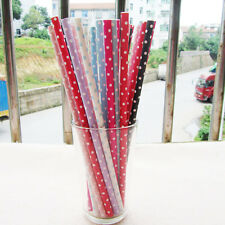 25 pcs Colored Paper Drinking Straws Polka Dot Drinking Straws For Party