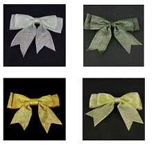 "80mm METALLIC CHRISTMAS Double Bows Ribbon Bows With Tails 3"" Beautiful 5/10/25"