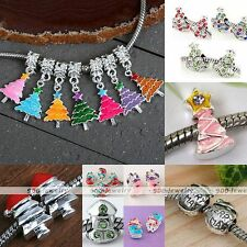 Xmas Tree Sock Snowman Crystal European Bead Fit Charm Chain Bracelet Making DIY