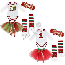4PCS Baby Girls Christmas Romper Dress Tutu Skirt Xmas Outfits Party Costume NEW