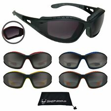 Motorcycle Riding Bifocal Sunglasses Safety Removable Foam Padded 1.0 - 3.5 NWT