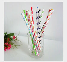 25 pcs Colored Paper Drinking Straws Big Polka Dot Drinking Straws For Party