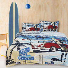 Retro Summer Beach Surf Marine Quilt Cover Set - Single Double Queen King Bed