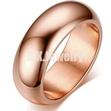 Polished 7MM Mens Women Rose Gold PL Solid Stainless Steel Band Ring Size 6-13