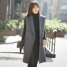 Womens Double-breasted Wool Blend Vests Long Casual Coat Jackets Tailored XS-4XL