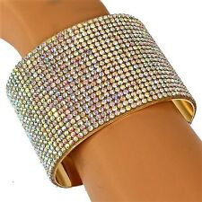 Gold Black BLUE RUBY Silver Pave Set Crystal Cz Bangle Cuff Statement Bracelet