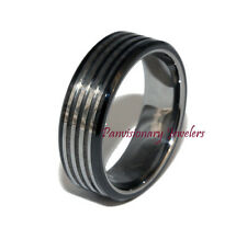Black Wedding Ring Band 8mm Pipe Cut Grooves Tungsten Carbide