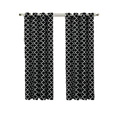 Black & White Room Darkening Thermal Insulated Grommet Meridian Curtain Panels