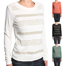 Mogan Embellished Front Crew Neck Long Sleeve Knit Sweater Top