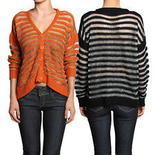 MOGAN Metallic STRIPED CARDIGAN Open Knit Button Down Dolman Long Sleeve Sweater