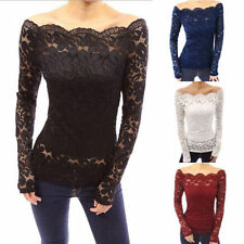 See Through Sexy Women Off Shoulder Lace Crochet Top Shirt  Slim Casual Blouse