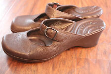 DOCKERS MARY JANE SLIP ONS OPEN BACK 2' HEEL BROWN LEATHER SIZE 8 1/2