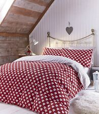 Brushed Hearts Flannelette Fitted Sheets, 100% Soft Cotton, Single Double King