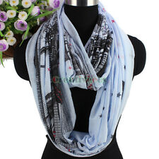 Women Architecture&Stars Pattern Soft Long Scarf/Infinity Loop Casual Scarf New