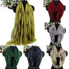 Women Vintage Elegant Flocking Trees Pattern Soft Long Scarf/Infinity Scarf New