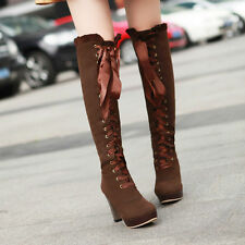 New womens long lace Up knee high boots faux suede shoes platform pumps heels