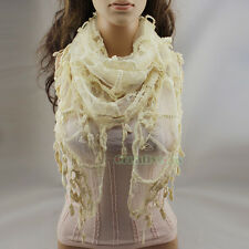 Fashion Women's Elegant Lace Stripes Crochet With Lace Tassel Triangle Scarf New