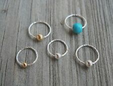 Septum Ring,Nose Ring piercing ring 925 Sterling Silver Twisted Beaded