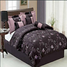 Covington Purple Microfiber Comforter Set, Bed-Skirt, Shams & Decorative Pillows
