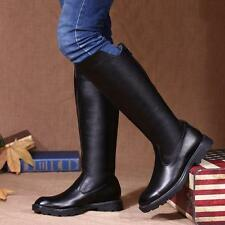 Men's winter fur lined military riding equestrian knee high top boots fashion