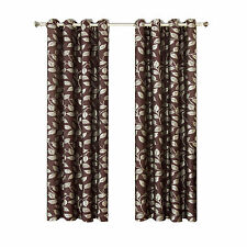 Charlotte Jacquard Grommet Window Panels, Chocolate Set of Two Floral Curtains